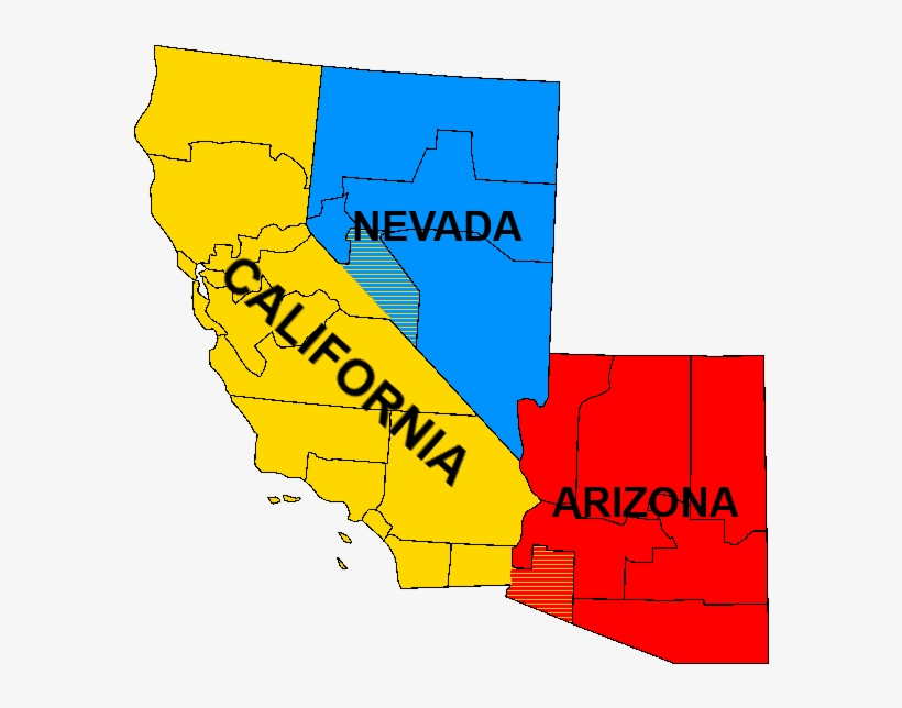 Map Of Arizona Nevada.Map Of Sierra California Nevada And Arizona Map Transparent Png