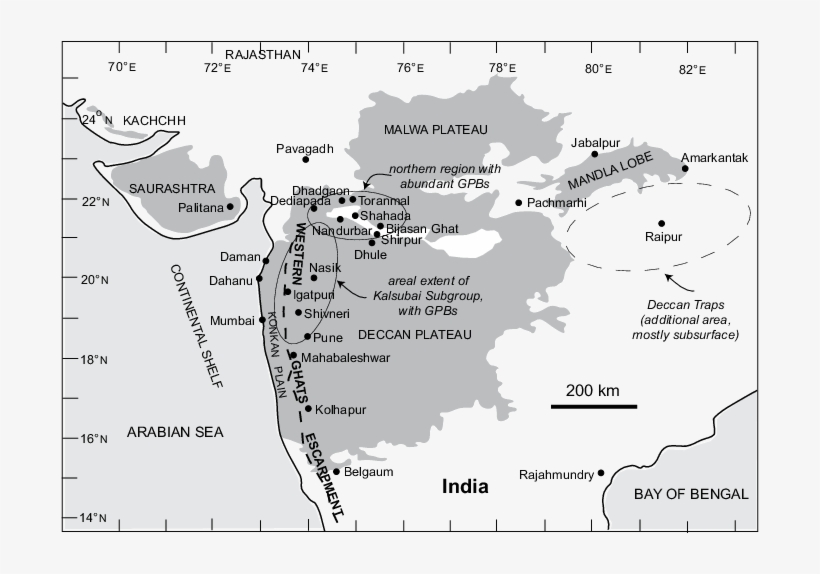 Map Of India And The Deccan Traps - Deccan Plateau In Pune ... Deccan Plateau Map on