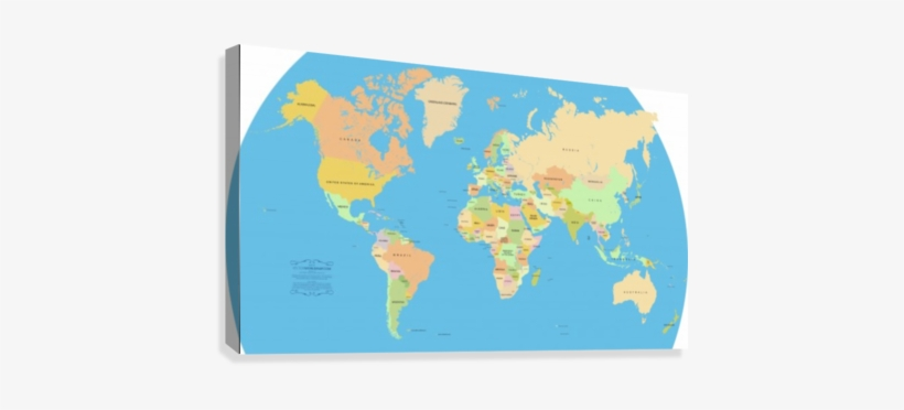 Vector World Map Canvas Print - Accurate World Map Countries ...