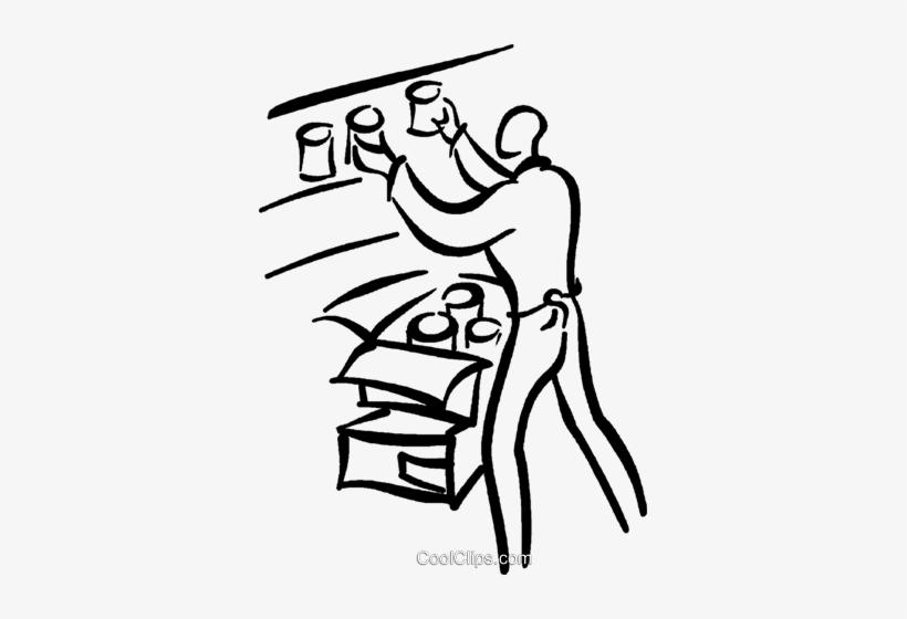 Clerk Stocking Shelves Royalty Free Vector Clip Art