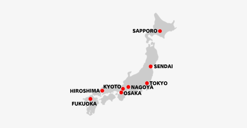 Estimated Travel Time From To Tokyo Japan Map Major Cities Japan