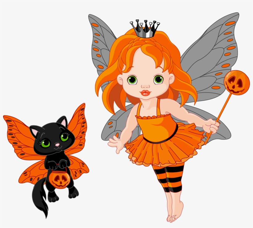 Transparent Halloween Fairy And Cat 0 Cliparts Fairy Vector Free