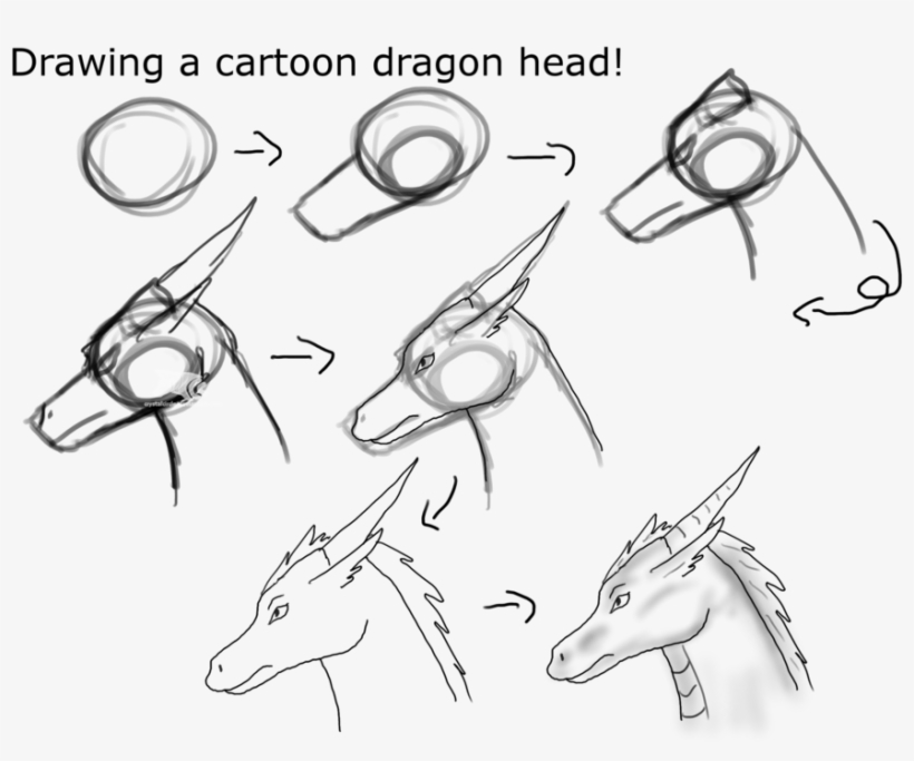 d54ee50d2 Black And White Download A Cartoon Dragon Head - Draw Dragons Head Step By  Step