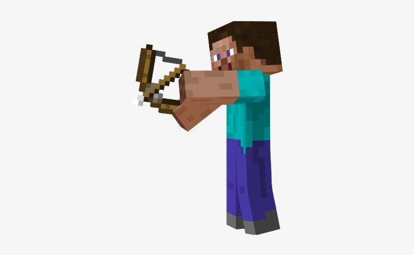 Image Wcvrjix Png World Minecraft Steve With Bow Transparent Png 313x435 Free Download On Nicepng