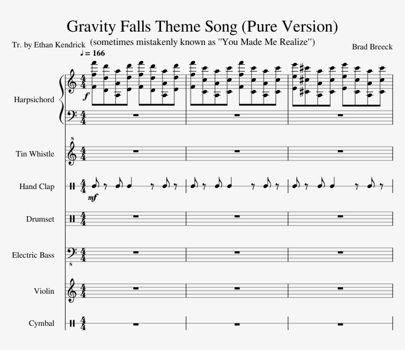 Download HD Gravity Falls Theme Song Sheet Music Composed By