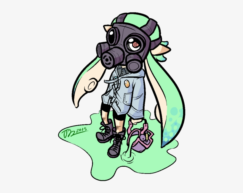 Drew My Squid Kid Splatoon Gas Mask Art Transparent Png