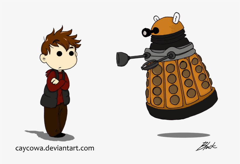 Rory And Dalek Chibis By Caycowa On Deviantart Clip Doctor Who Cartoon Dalek Transparent Png 734x500 Free Download On Nicepng