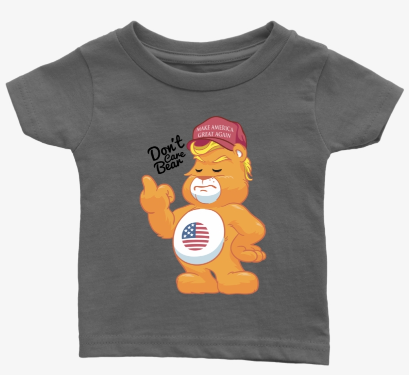 322335113 Don't Care Bear W/ Make America Great Again Hat Adult - Baby Onesie Funny  Quote Throw Up
