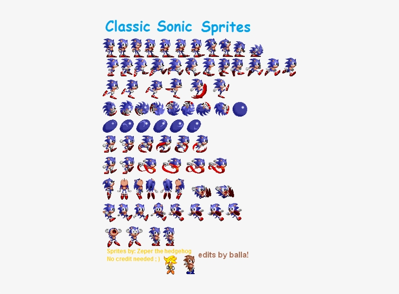 Transparent Sprites Sonic Banner Royalty Free Stock - Classic Sonic