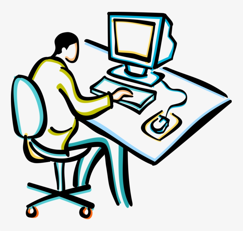 Bürotisch clipart  Vector Illustration Of Businessman Working At Office - Clipart ...