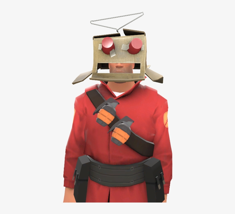 Cardboard Robot Head - Tf2 Soldier Robot Costume Transparent