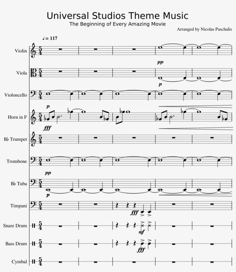 Universal Studios Theme Music Sheet Music Composed - Singing