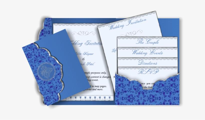 Pocket Style Email Indian Wedding Invitation Card Blue Wedding Cards Design Transparent Png 670x426 Free Download On Nicepng