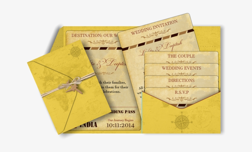 Vintage Destination Email Wedding Invitation In Old Indian