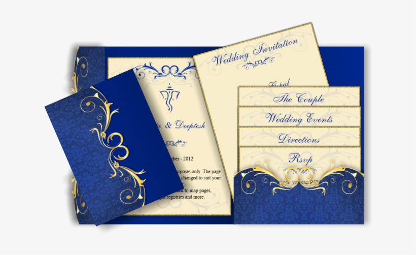 Pocket Style Email Indian Wedding Invitation Card Design Blue Wedding Invitation Cards Samples Transparent Png 670x447 Free Download On Nicepng