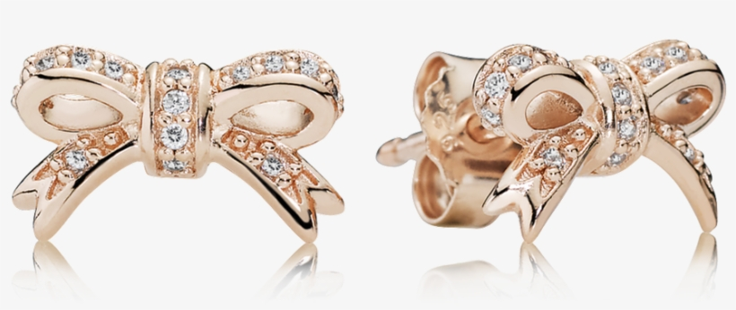 a29e2bb9d Sparkling Bow Stud Earrings, Pandora Rose™ - Pandora Bow Earrings Rose Gold