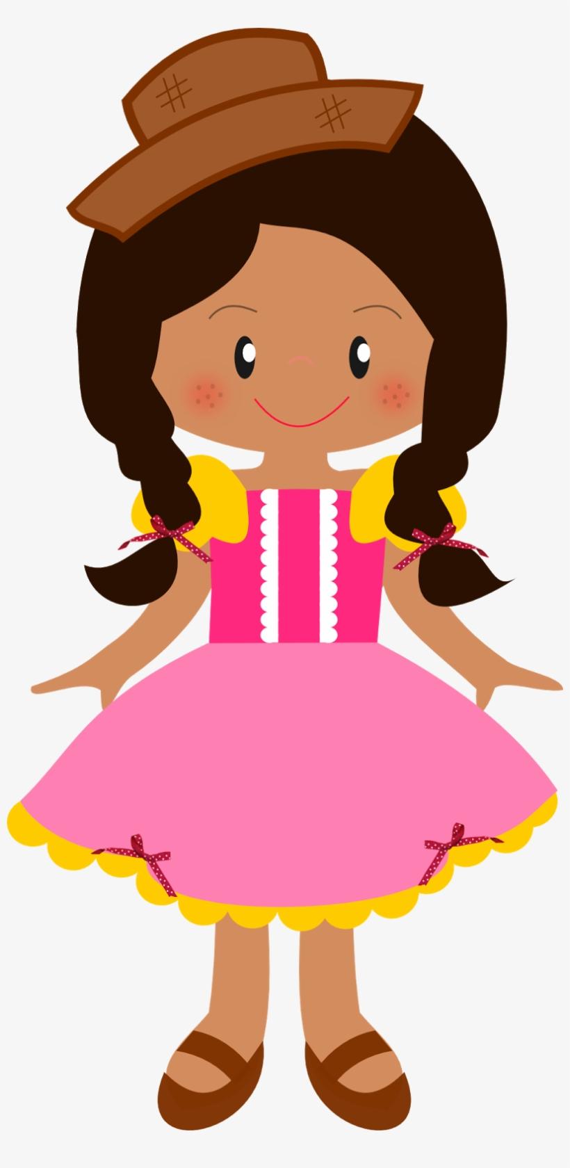 Menina Negra Caipira Montando Minha Festa Png Molde Boneca Festa