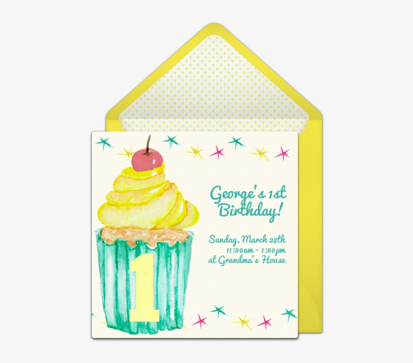A Free 1st Birthday Party Invitation Featuring A Cute Birthday