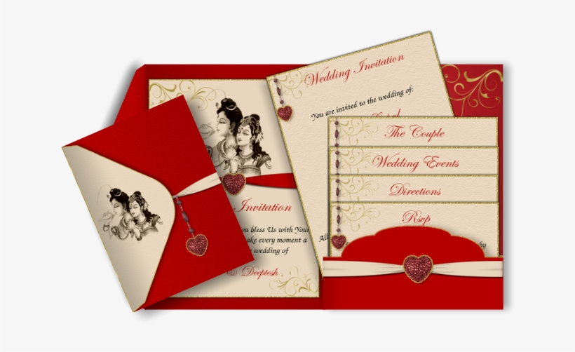 Hindu Email Marriage Card In Red With Religious Images Red And