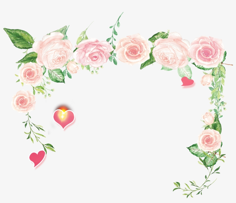 Hand Painted Cartoon Pink Rose Flower Decoration Vector Pink
