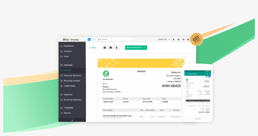 Zoho Invoice Is Now Gst Ready Gst Accounting Software Transparent Png 1441x695 Free Download On Nicepng