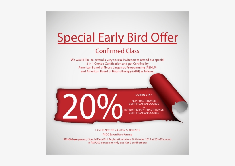 Confirmed Class With Special Early Bird Offer Of 20% - Early Bird