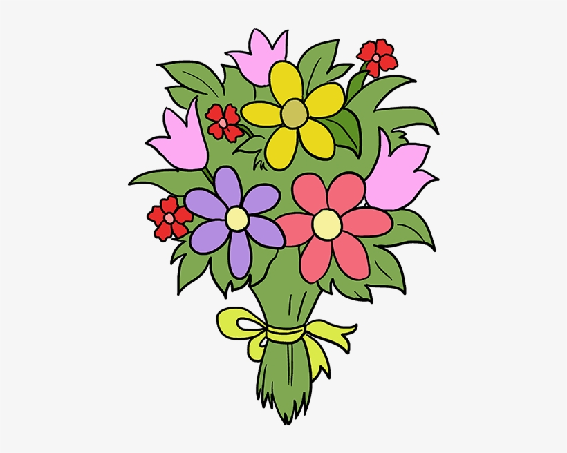 How To Draw Flower Bouquet Easy Flower Bouquet Drawing Transparent Png 680x678 Free Download On Nicepng