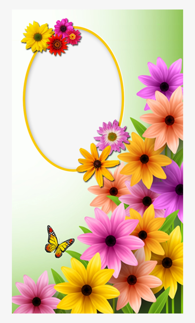 Frame With Spring Flowers And Butterfly Good Morning Best Mom