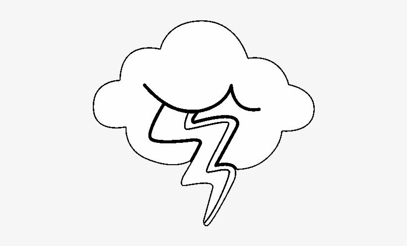 Dibujo De Nube Con Rayo Para Colorear - Desenho De Nuvem Com Raio ...