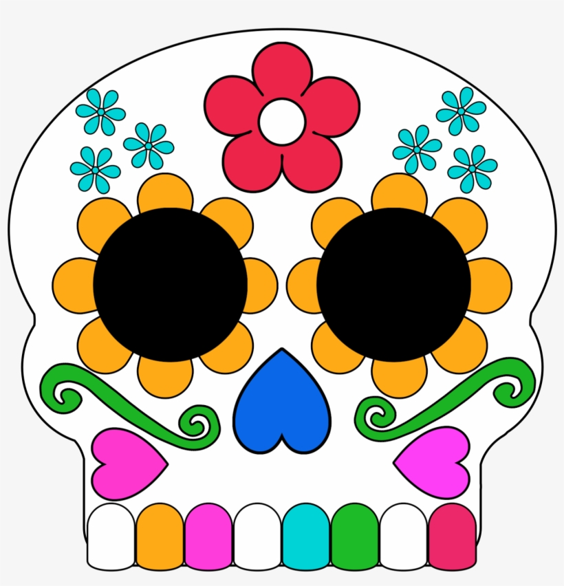 It is a graphic of Day of the Dead Printable Masks intended for hispanic