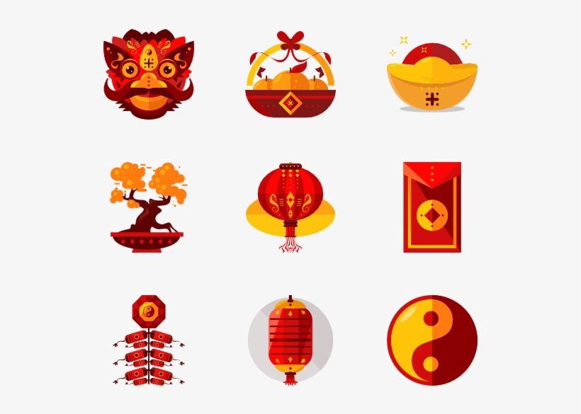 Chinese New Year Icon Set Transparent PNG - 600x564 - Free ...