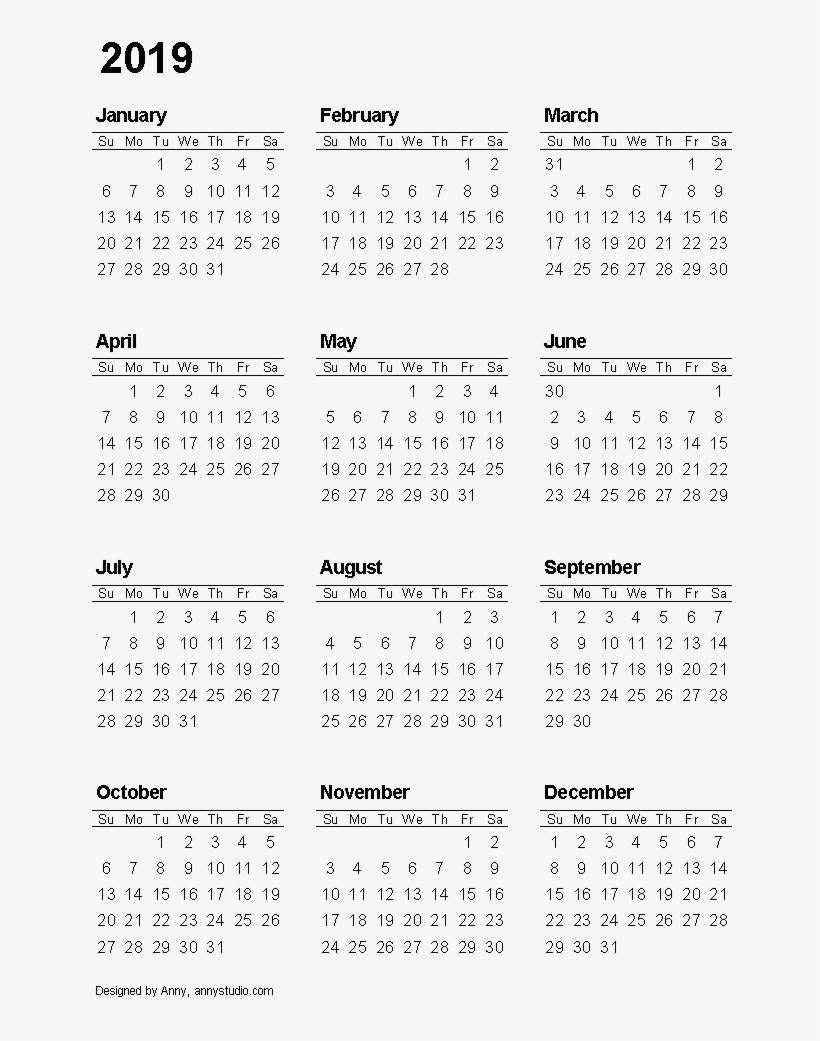 2019 Calendar Transparent Background - 12 Month Printable