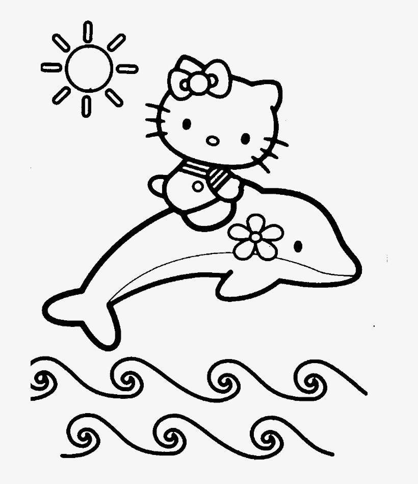 - Hello Kitty Is Up Above The Dolphins Coloring Page - Baby Dolphin Coloring  Sheet Transparent PNG - 700x869 - Free Download On NicePNG
