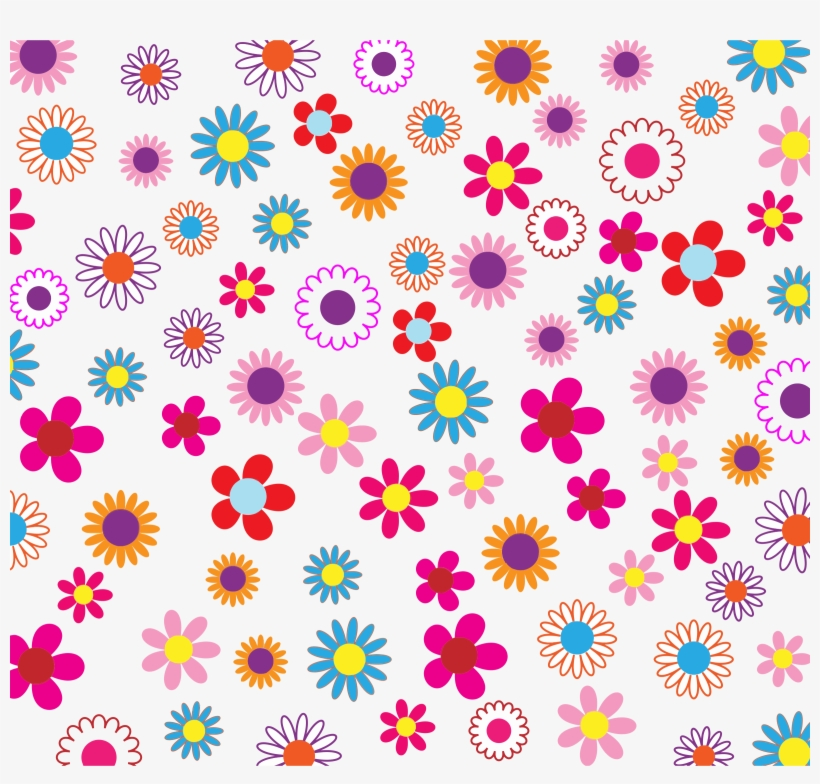 Floral Patterns Png - Retro Flowers Shower Curtain