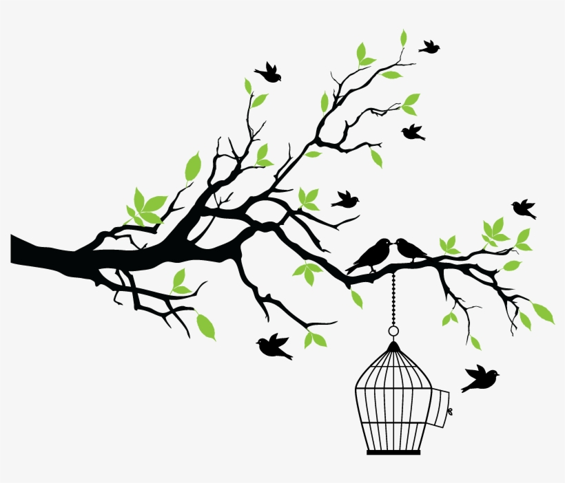 Aves Flores Vintage Dibujos Png Wall Painting Tree Design