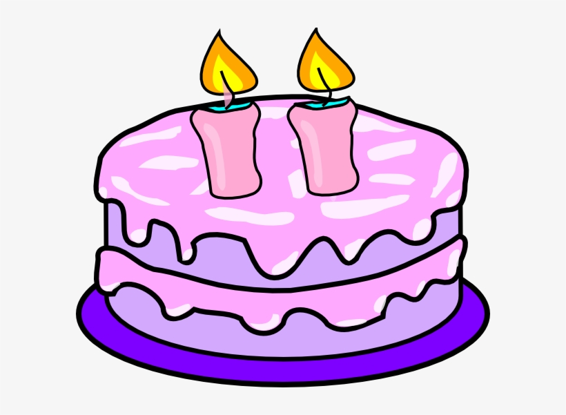 Birthday Cake Clipart Candle Birthday Cake Two Candles Transparent