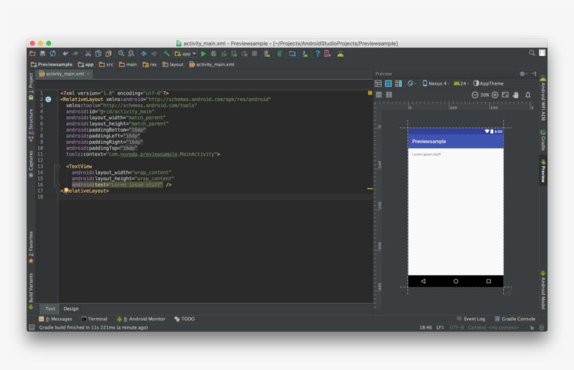 Preview Of The Layout Preview Screen In Android Studio Android