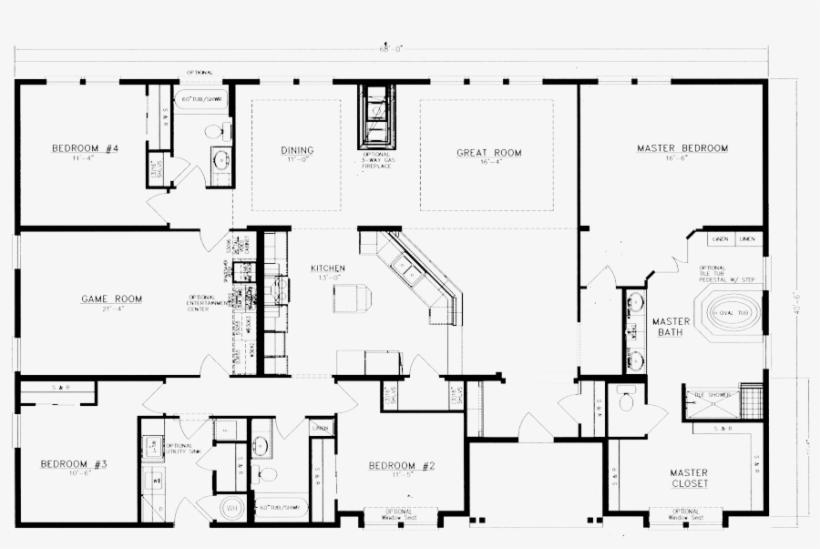Home Floor Plan 5 Bedroom Barndominium Floor Plans Transparent Png 890x547 Free Download On Nicepng