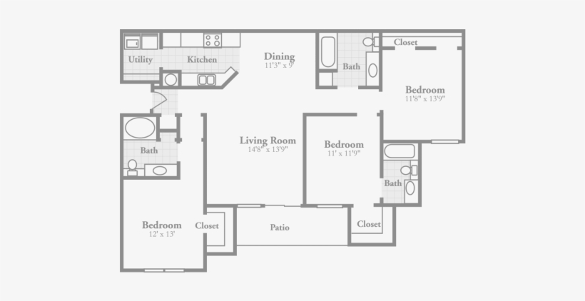 3 Bedroom Floor Plans Crowne On Tenth Stylish Apartments 3 Bedroom Apartment Floor Plans Transparent Png 540x341 Free Download On Nicepng