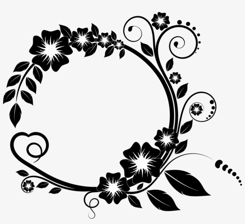 Ornament Bunga Png Black Floral Frame Png Transparent Png
