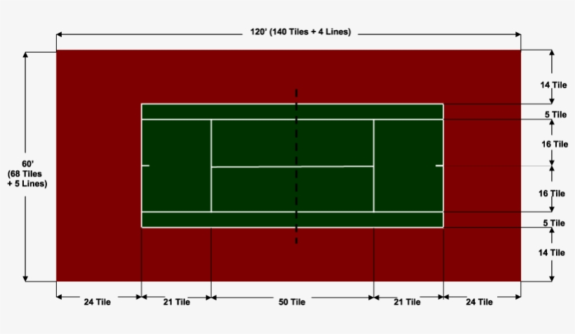 Standard Tennis Court Standard Size Of Long Tennis Court Transparent Png 801x397 Free Download On Nicepng