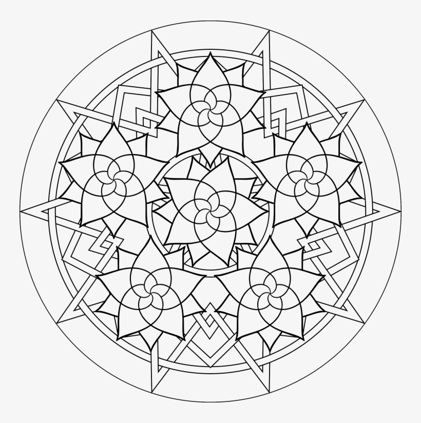 Coloring Pages Geometric Designs - Coloring Pages Adult Easy Transparent  PNG - 744x744 - Free Download On NicePNG