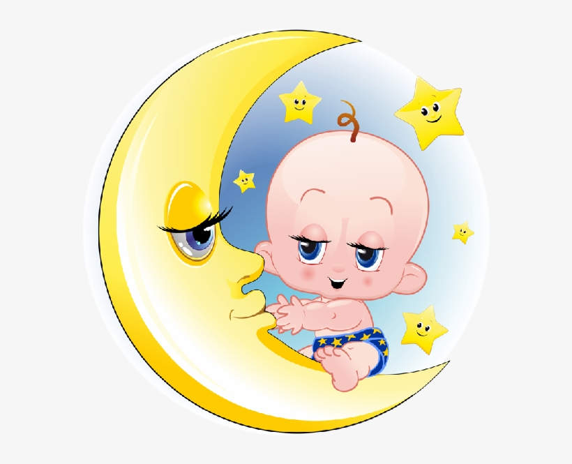 Baby Girl And Boy On Moon Cartoon Clip Art Images Funny Cartoon Baby On Moon Transparent Png 600x600 Free Download On Nicepng