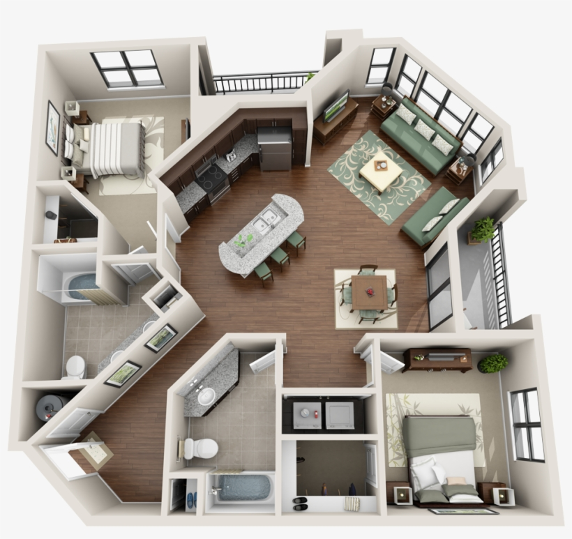 Apartment 3d Floor Plans Studio House Plan 3d Products ...