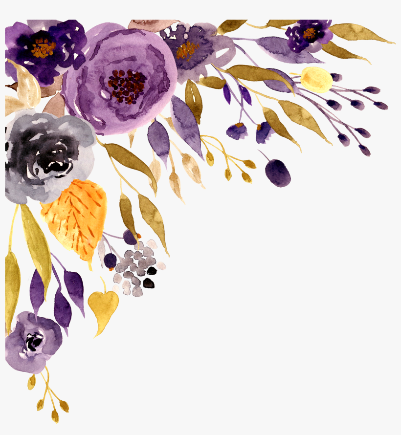 Flowers Floral Border Purple Watercolor Watercolor Purple