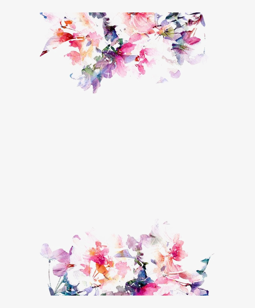 Watercolor Flower Border Png , Flower Watercolor Transparent