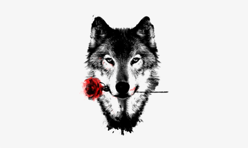 Romantic Wolf Tattoo Wolf Tattoo With Rose Transparent Png