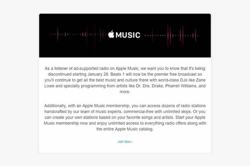 Ad-supported Apple Music Goodbye Letter - Advertising