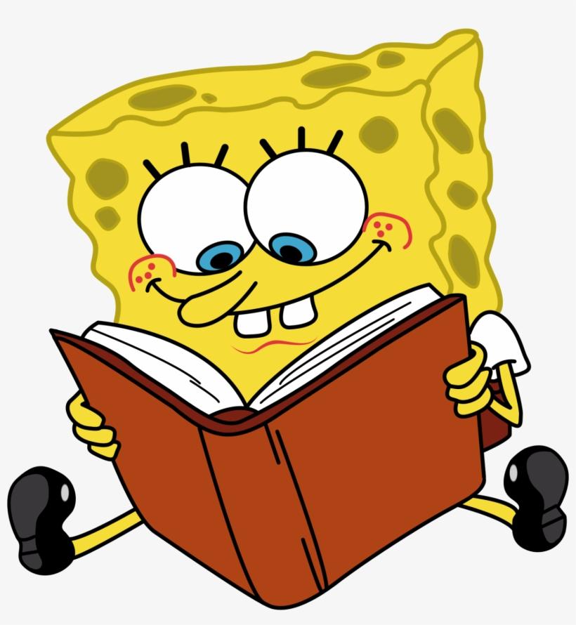 Cartoon Characters Spongebob Reading Book Png - Cartoon Png