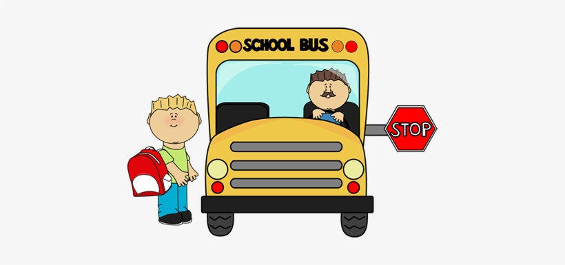 Child Waiting For School Bus - Getting On The Bus Clipart